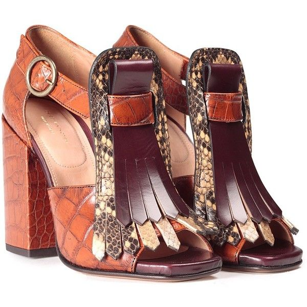 c23ba886048d Dries Van Noten Croc-Embossed Leather Sandals ( 780) ❤ liked on Polyvore  featuring shoes