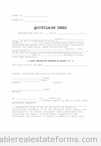 Printable Sample Quit Claim Deed  Form  Generic Sample Templates