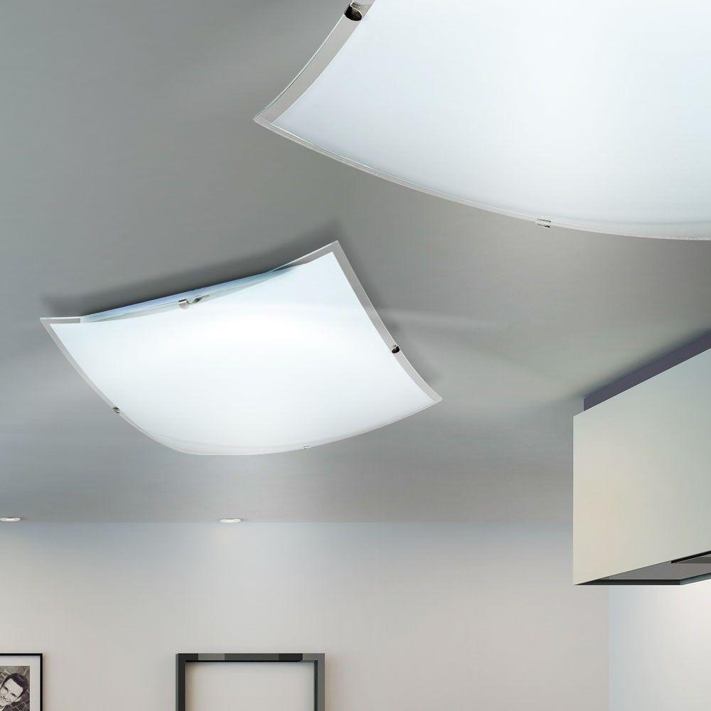 Coole Dekoration Kronleuchter Abgehaengte Decke 3 #17: LED Design Decken Lampe 20 Watt Glas Leuchte Küchen Flur Beleuchtung Eckig  Klar In Möbel U0026