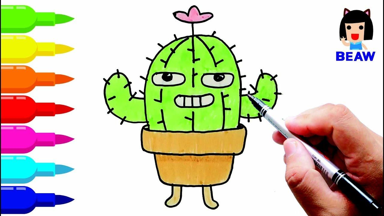 How to draw Cactus tree cartoon cute / Coloring pages for kids ...