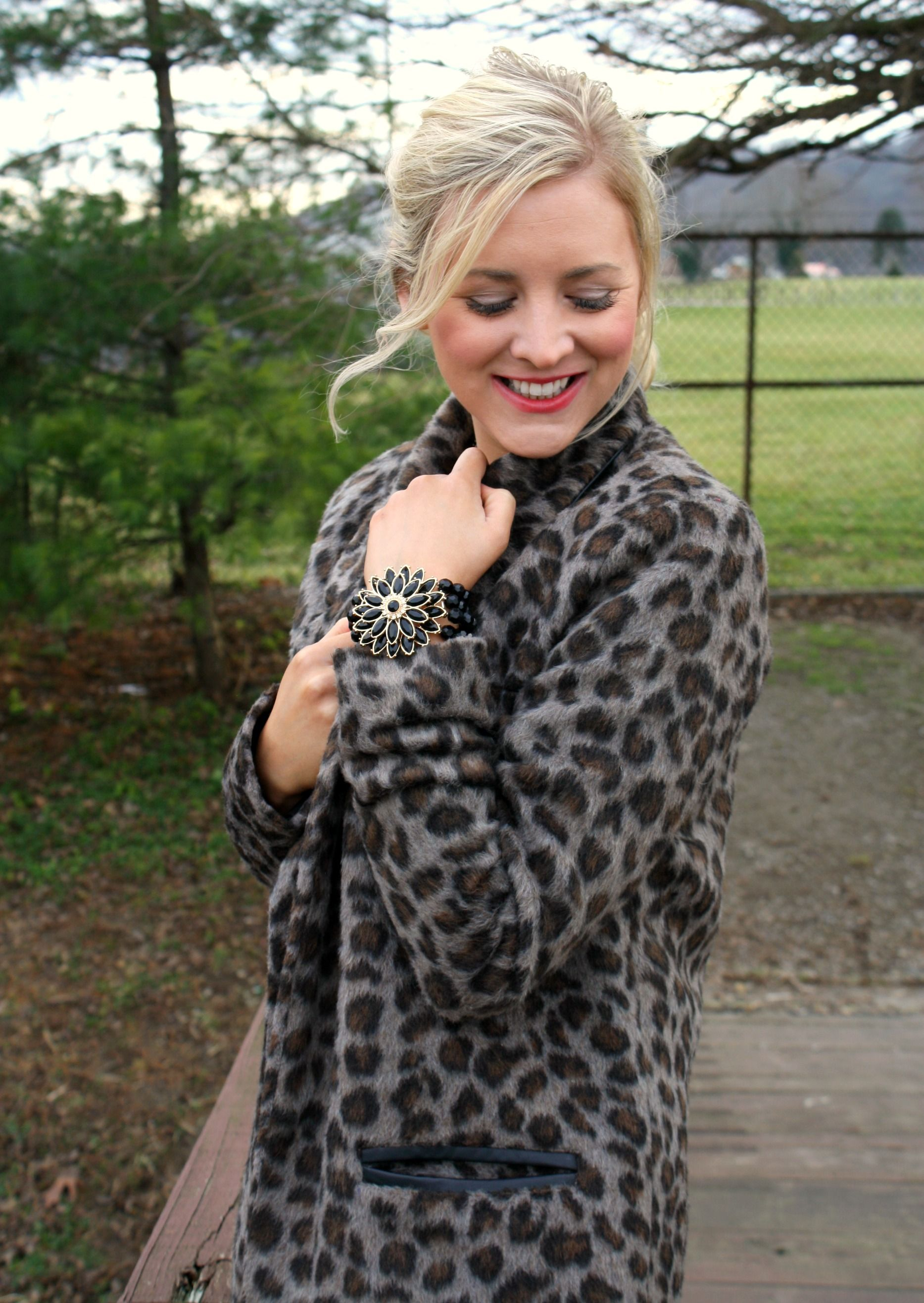 thedailysugar.blogspot.com leopard print coat, forever 21, winter style, fashion, fashion blogger, style, fashion blog, deb shops, jeweled bracelet cuff, glam, holiday