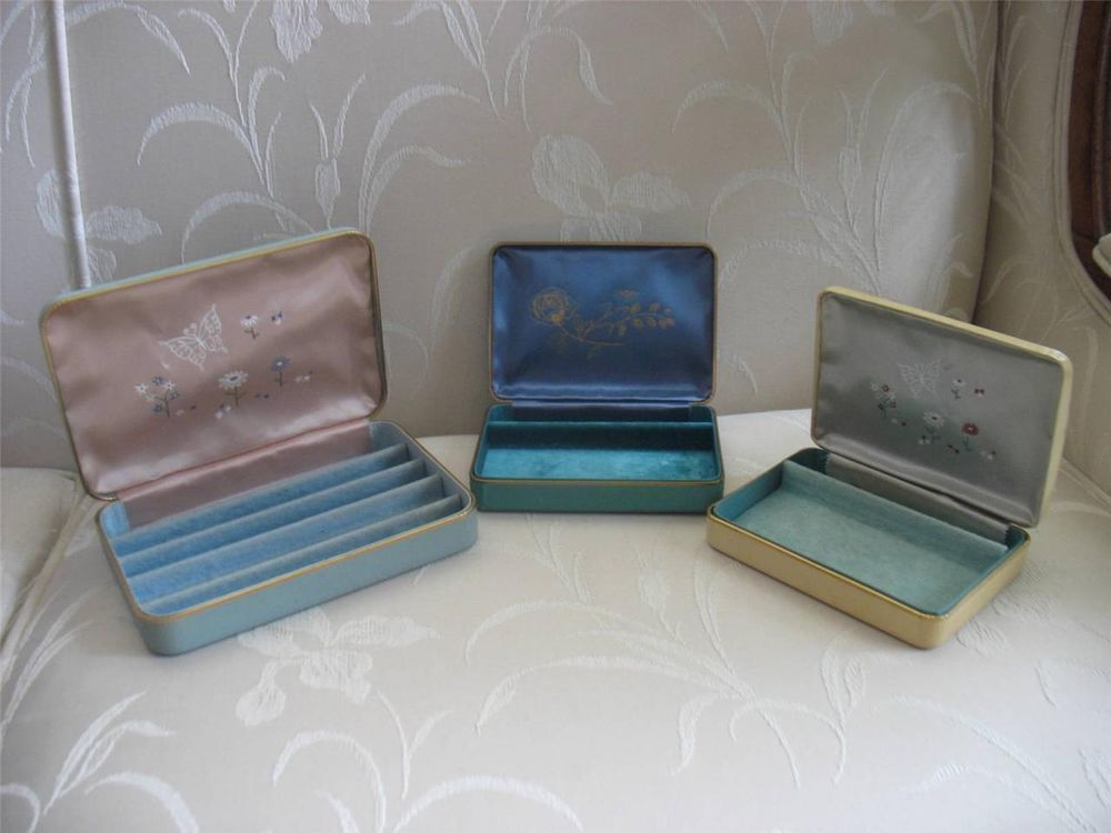 Lot of Three Vintage Farrington Jewelry Boxes from 1950s Genuine