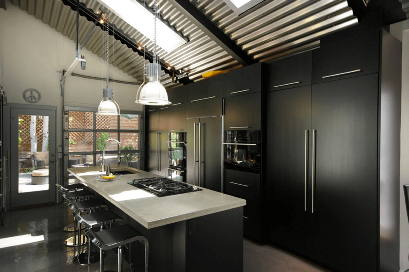 31 Black Kitchen Ideas For The Bold Modern Home Interior Design Kitchen Industrial Interior Kitchen Contemporary Black Kitchen