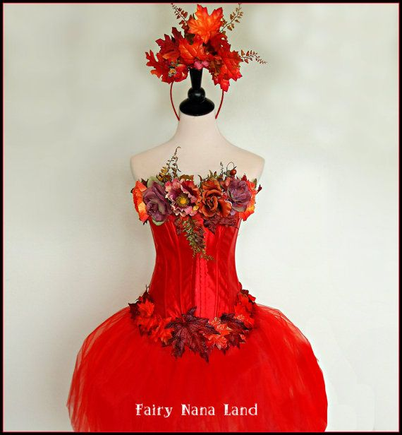 SUMMER SALE Adult Fairy Costume The Really Red Fall Faerie
