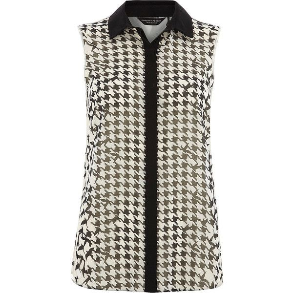 White bird and dogtooth shirt ($49) ❤ liked on Polyvore