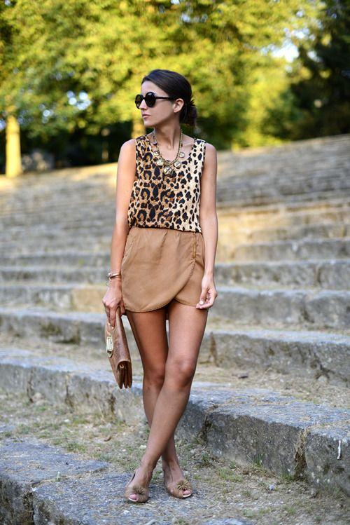 Animal Print Top & Tan Skirt