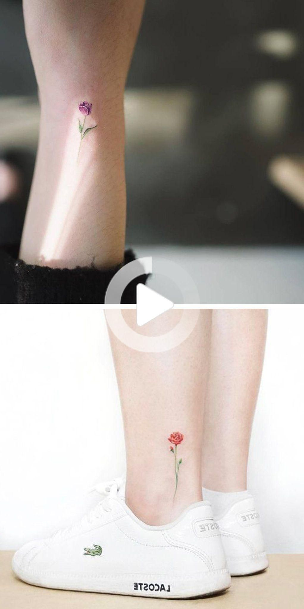 Tiny Watercolor Flower Ankle Tattoo Ideas Colorful Rose Wrist Tatt Mybodiart Com In 2020 Ankle Tattoo Small Flower Tattoo On Ankle Rose Tattoo On Ankle