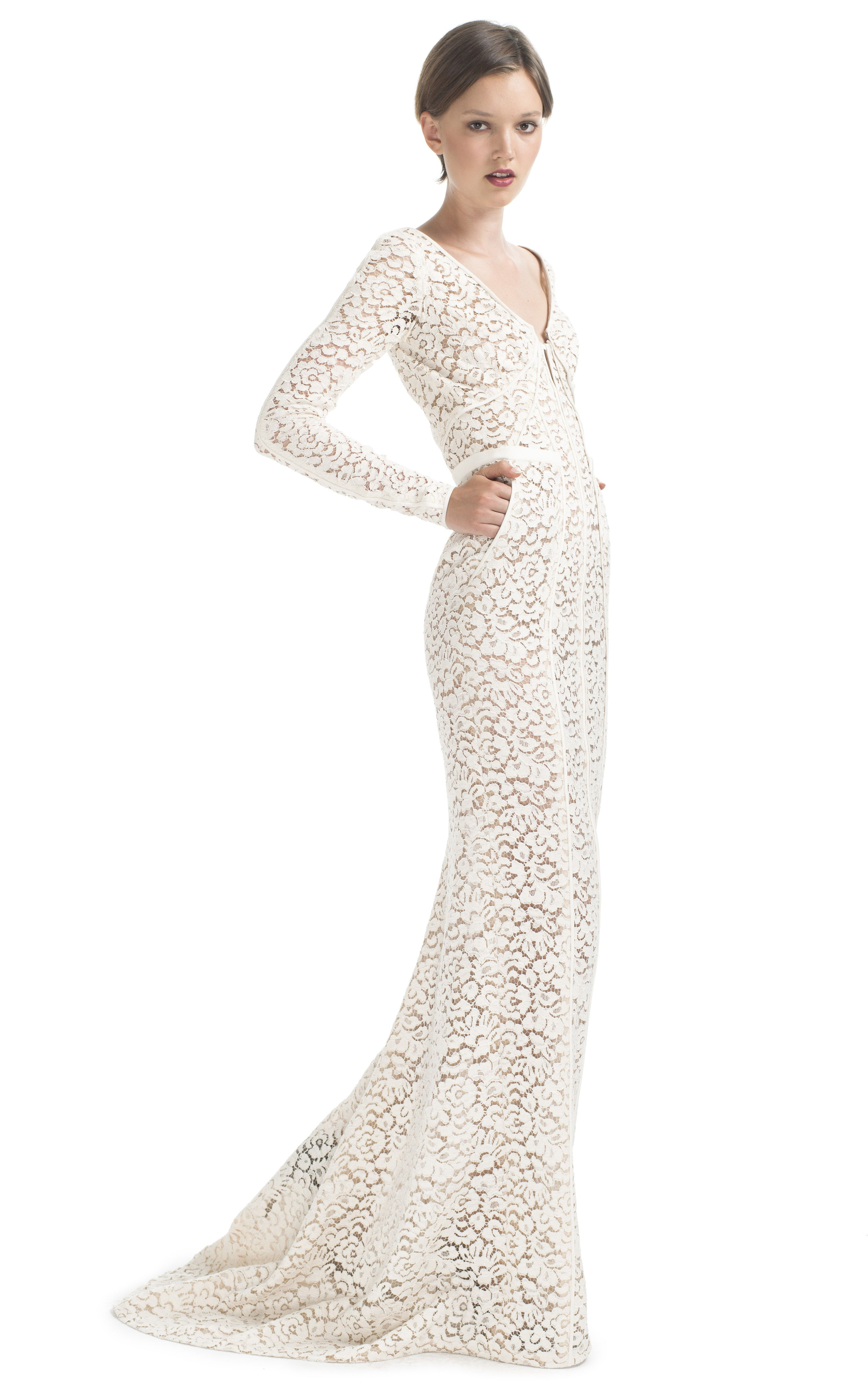 Long Sleeve Lace Evening Gown by J. Mendel for Preorder on Moda ...