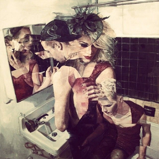 #him #her #red #love #people #cute #crazy #bathroom #good #fun #beauty #make-up