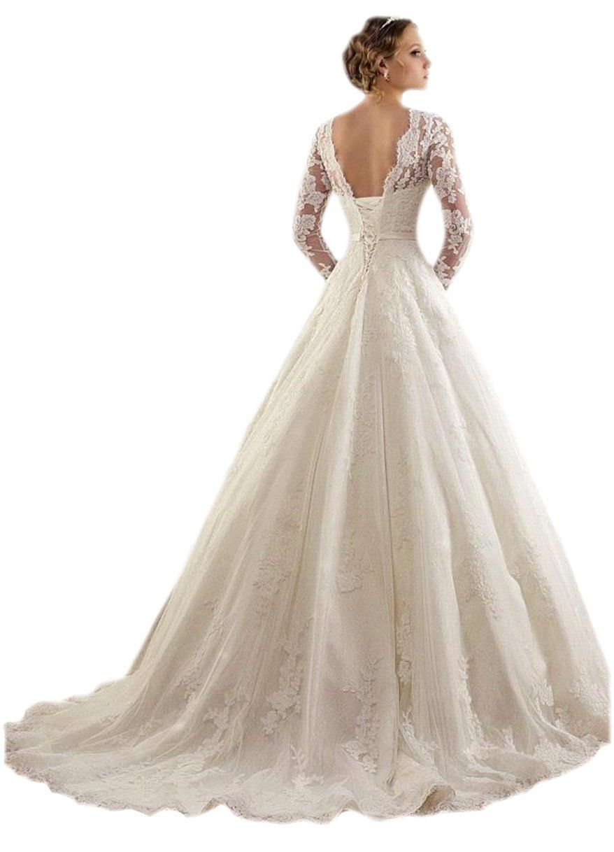 LINGLINGDING Women's Sheer Long Sleeves Lace-up Spring Garden Wedding Dress US2