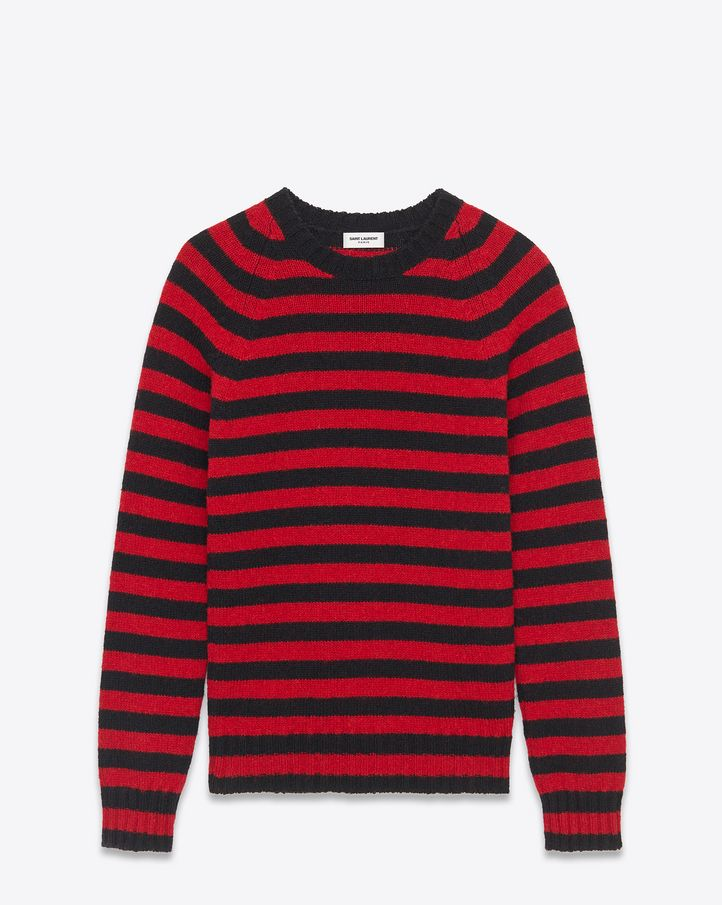saintlaurent, Crewneck Sweater in Black and Red Striped $ 590.00 ...