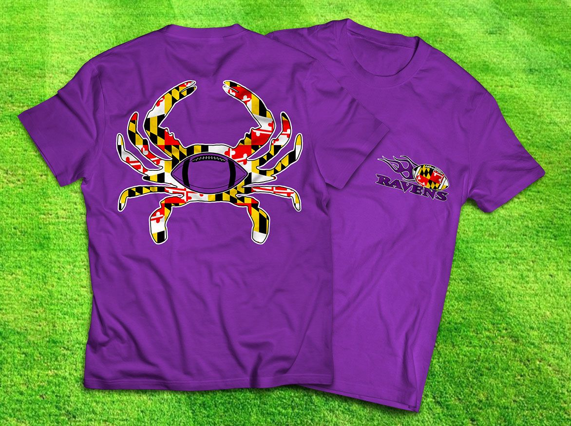 Baltimore Ravens Maryland flag print Crab t shirt | Sports Apparel  for cheap