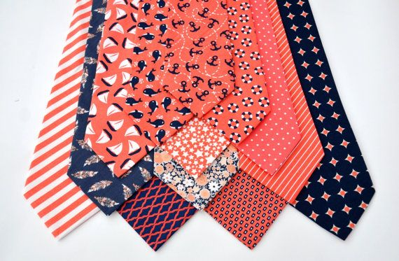 559da22c5ddc Men's Neckties in Coral and Navy Nautical Prints. Find at  www.meandmatilda.com 24.95 each. Boy's Neckties and Bow Ties made to match.