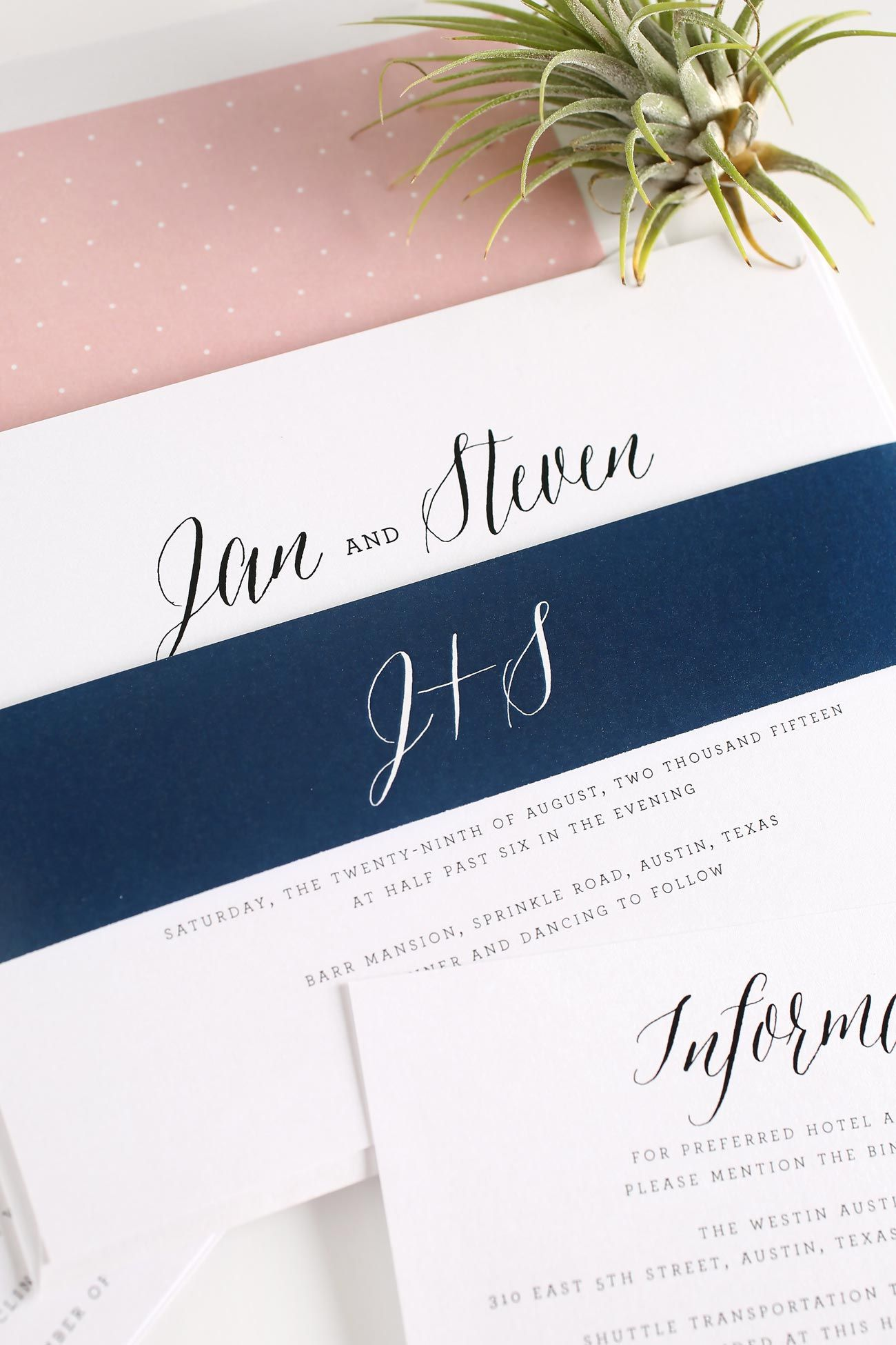 rustic wedding invitations in blush - Navy And Blush Wedding Invitations