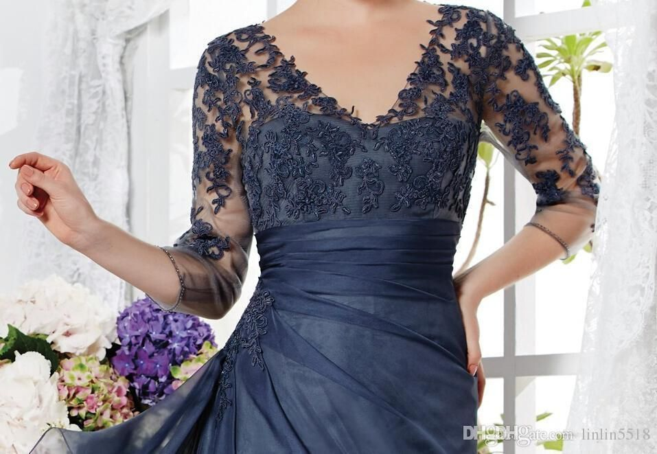 2015 Vintage Navy Blue Mother Of The Bride Groom Dresses 3/4 Sleeves Appliques Lace A-line V-neck Long Custom Made Winter Evening Part SX393
