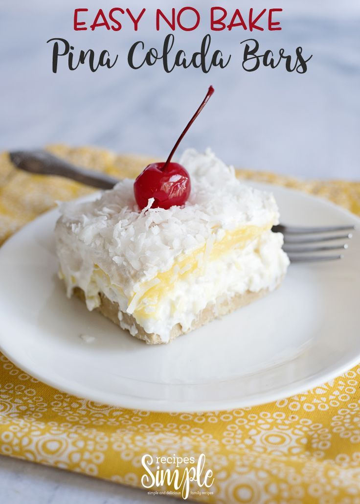 Easy Pina Colada No Bake Bars These Easy No Bake Pina Colada Bars are layers of creamy goodness that are loaded with cream cheese, pudding, cool whip, pineapple, and coconut, piled on top of a crushed Golden Oreos crust.