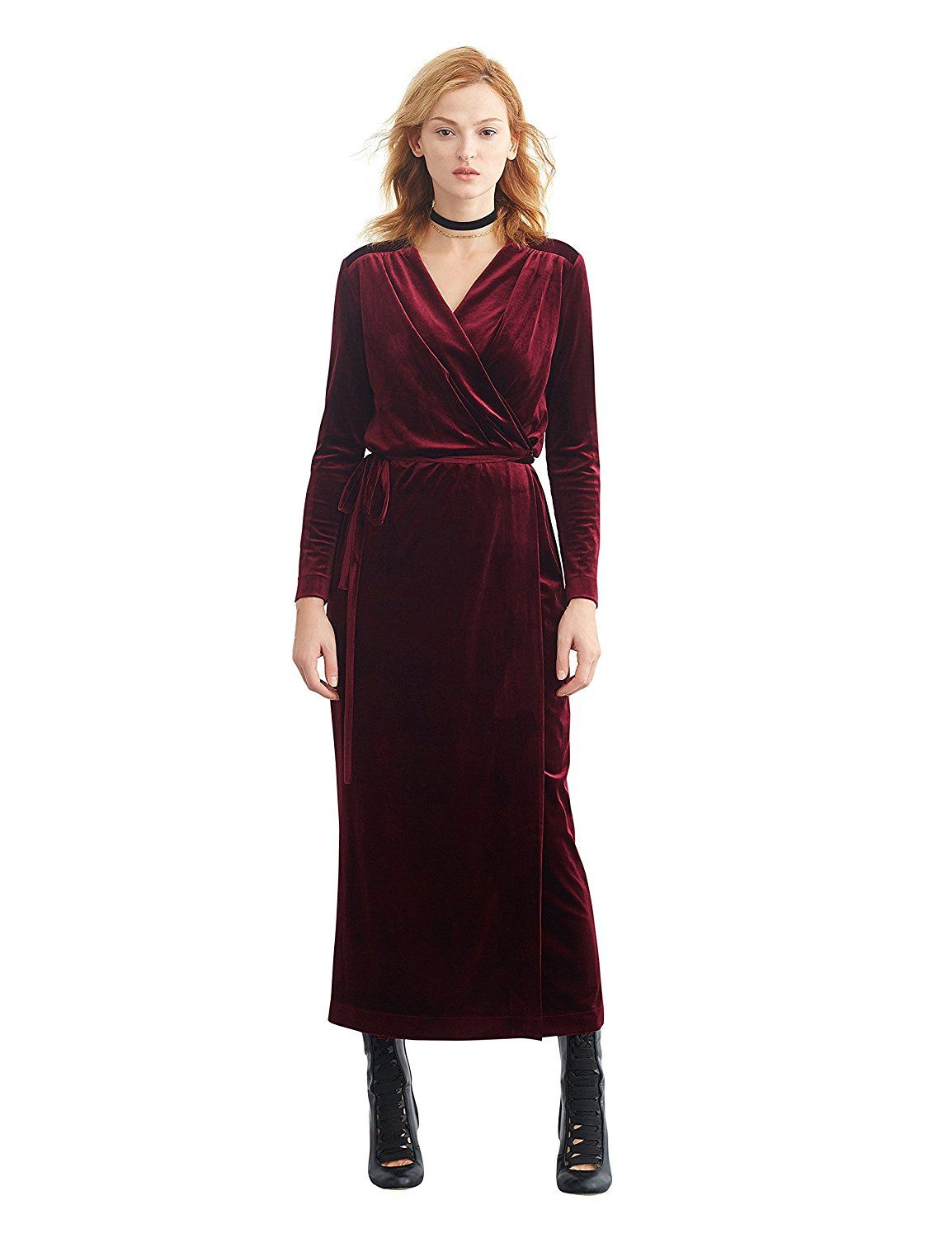 Simple Retro Women's V-neck Velvet Belted Wrap Maxi Long Dress >>> Check this awesome image  : formal dresses
