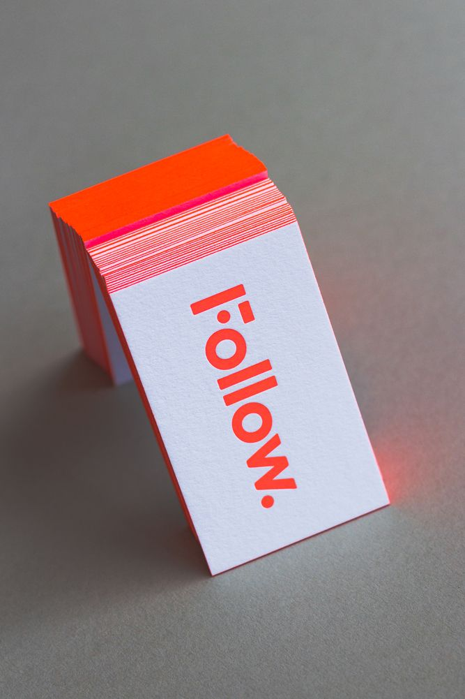 Follow Films Neon Pantone Edge Painted Business Cards On Behance Graphic Design Business Card Printing Business Cards Business Cards Creative