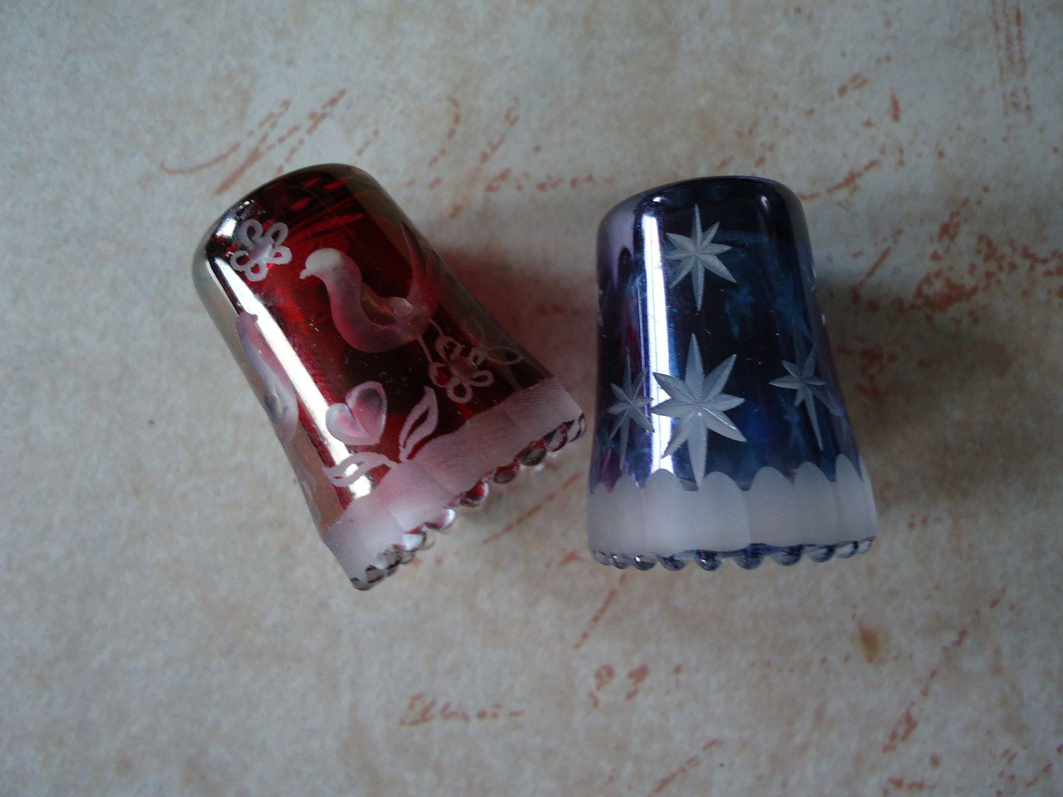 Etched Glass Thimbles W Germany RESERVED FOR MILLY Montesinos