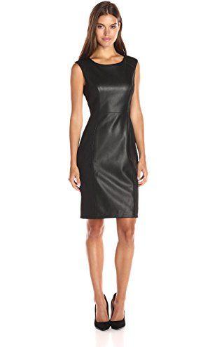 Calvin Klein Womens Cap Sleeve Sheath Dress With Pu Insert Black
