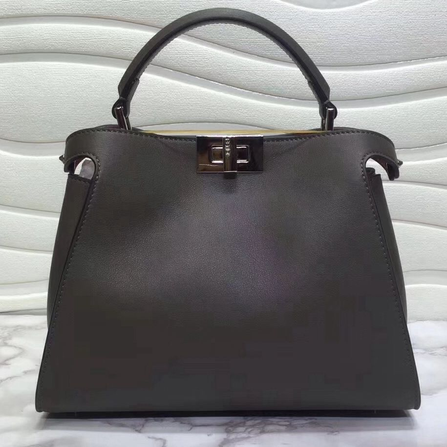 8676260be6 Fendi Calfskin Essential Peekaboo Bag 27cm Dark Grey 2018