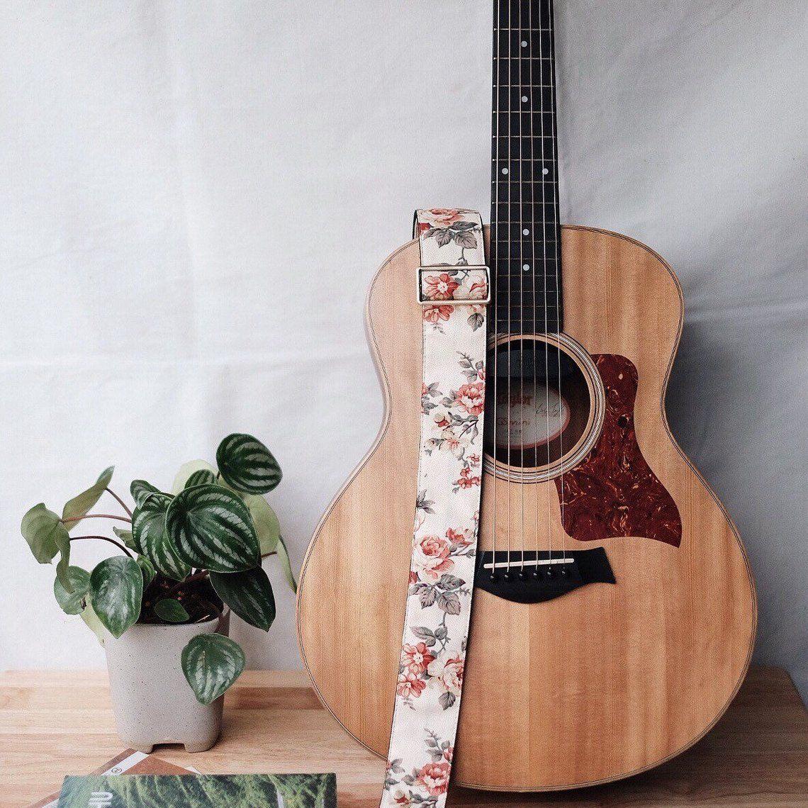 Cream Fabric Flower Guitar Strap | Etsy