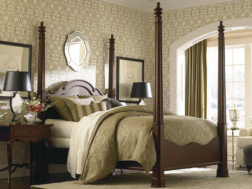 French High Poster Bed In Dark Cherry Furniture Bed Bedroom Decor