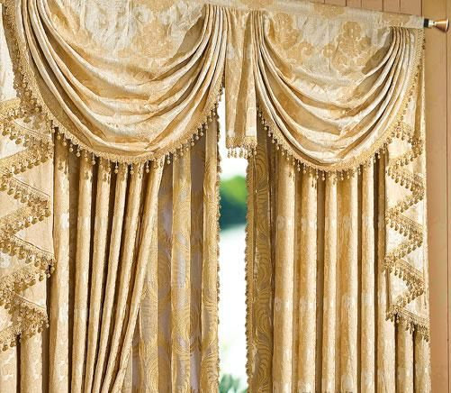 Heavy textured jacquard floral waterfall valance for New york style curtains