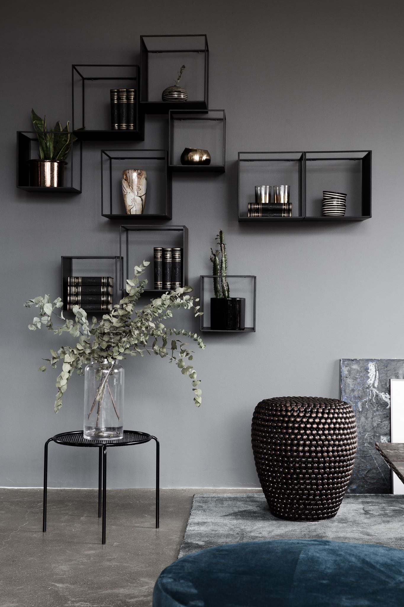 living room wall decor shelves. Grey Walls And Small Glass Cabinets Living Room Wall Decor Shelves S
