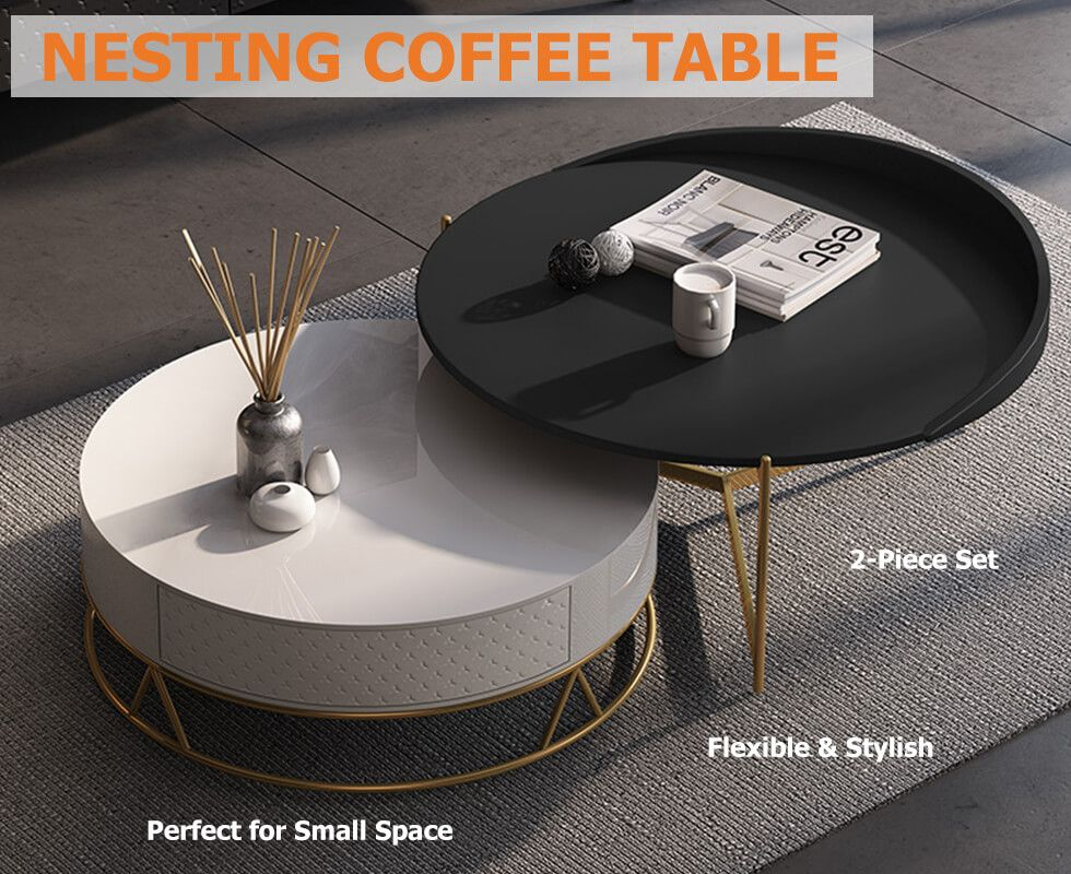 Round Nesting Coffee Table With Storage Rotatable Drawers Wood In White Black Round Nesting Coffee Tables Nesting Coffee Tables Coffee Table Small coffee tables with storage