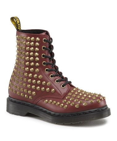 This Cherry Red Spike Leather Boot - Women is perfect! #zulilyfinds