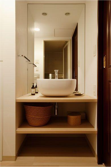 洗面ボウルに合わせたシンプルな洗面化粧台 洗面所 リフォーム 洗面