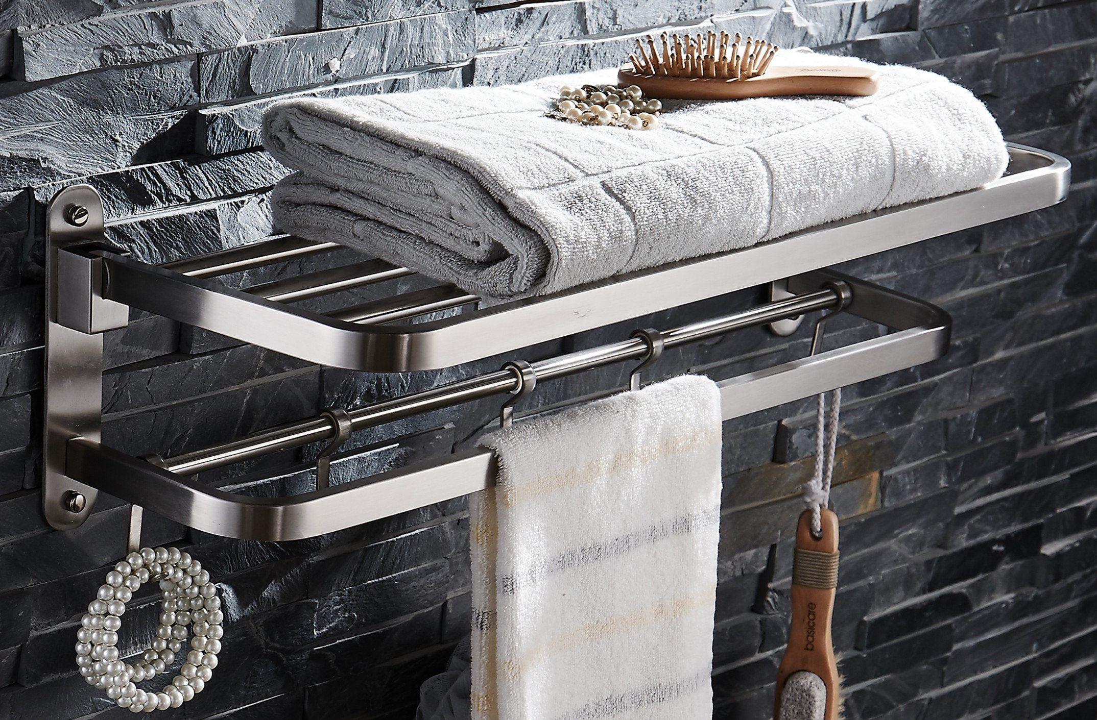 ELLO&ALLO Stainless Steel Towel Racks for Bathroom Shelf Double ...