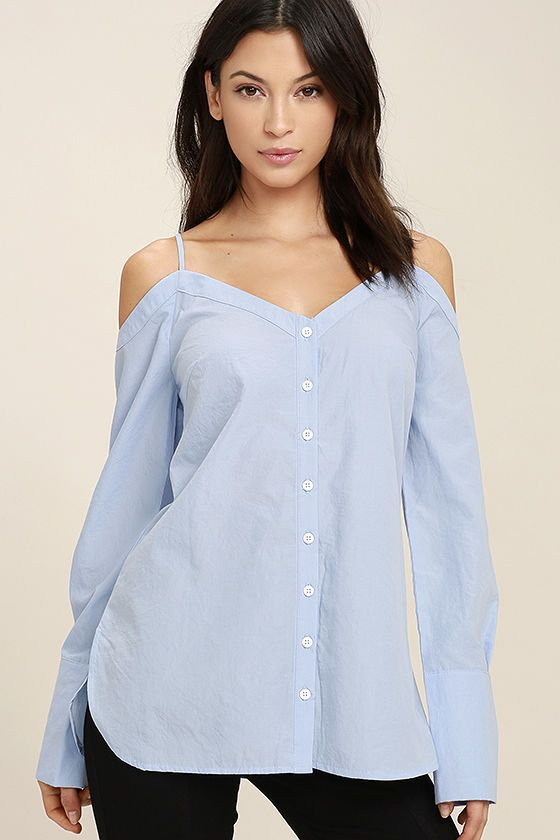 a44e8f4bca61a ... Button-Up Off-the-Shoulder Top! Lightweight woven fabric falls from  adjustable spaghetti straps into an off-the-shoulder neckline