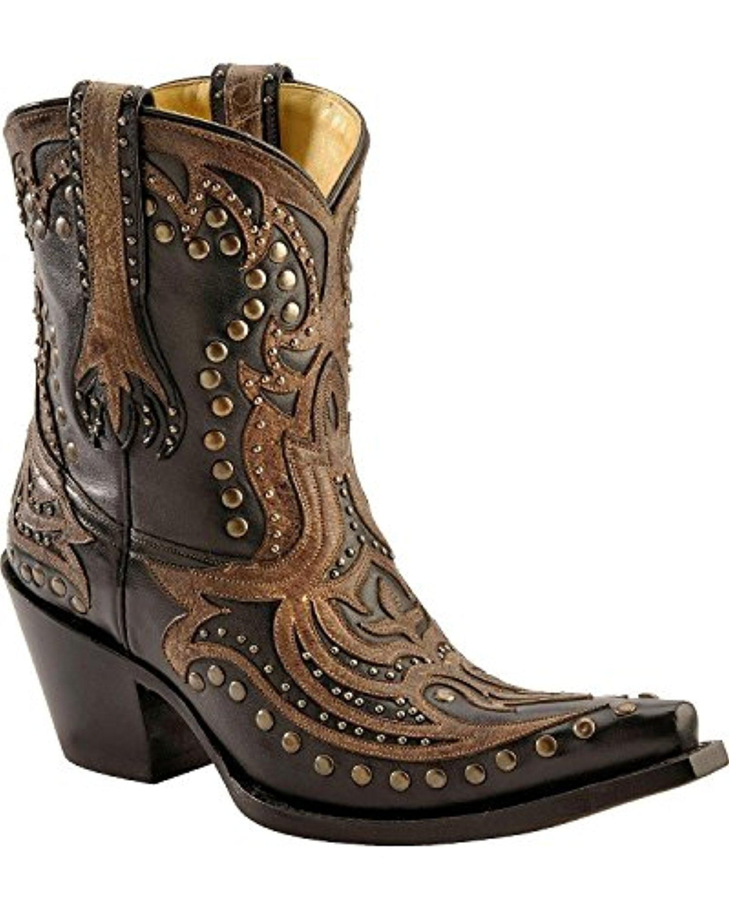 6a2d6008b70f5 Corral Women's Distressed Overlay Studded Short Boot Snip Toe Black 6.5 M  US - Brought to