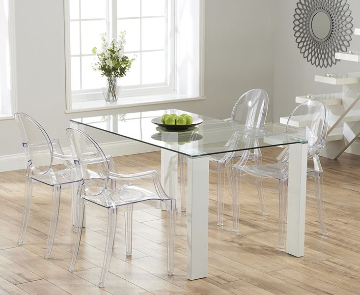 Lavina 150cm glass and white high gloss dining table with for Philippe starck glass table