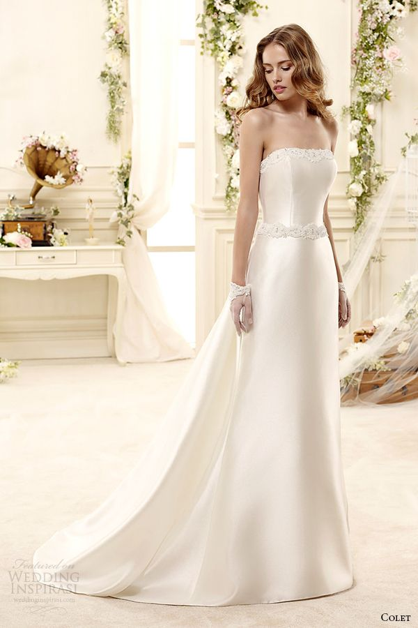 Colet Bridal 2015 Style 68 Coab15325iv Straight Across Strapless Column Wedding  Dress