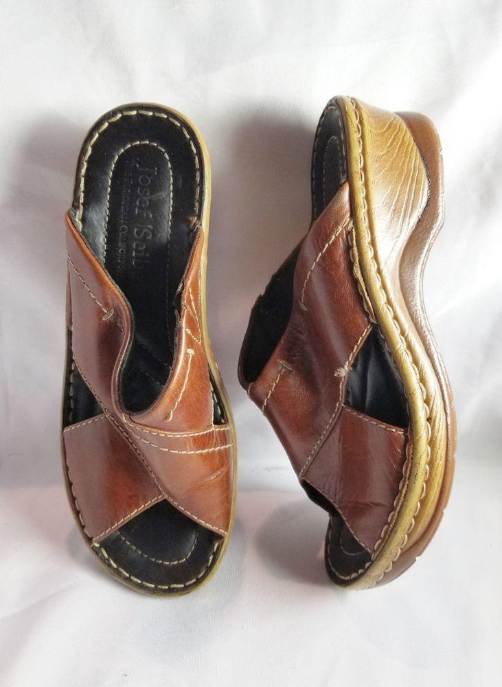 c9a3b133b21d 7M 37 Josef Seibel Women s Brown Leather Wedge Heel Mule Sandals Slides   JosefSeibel  MulesSlideOn