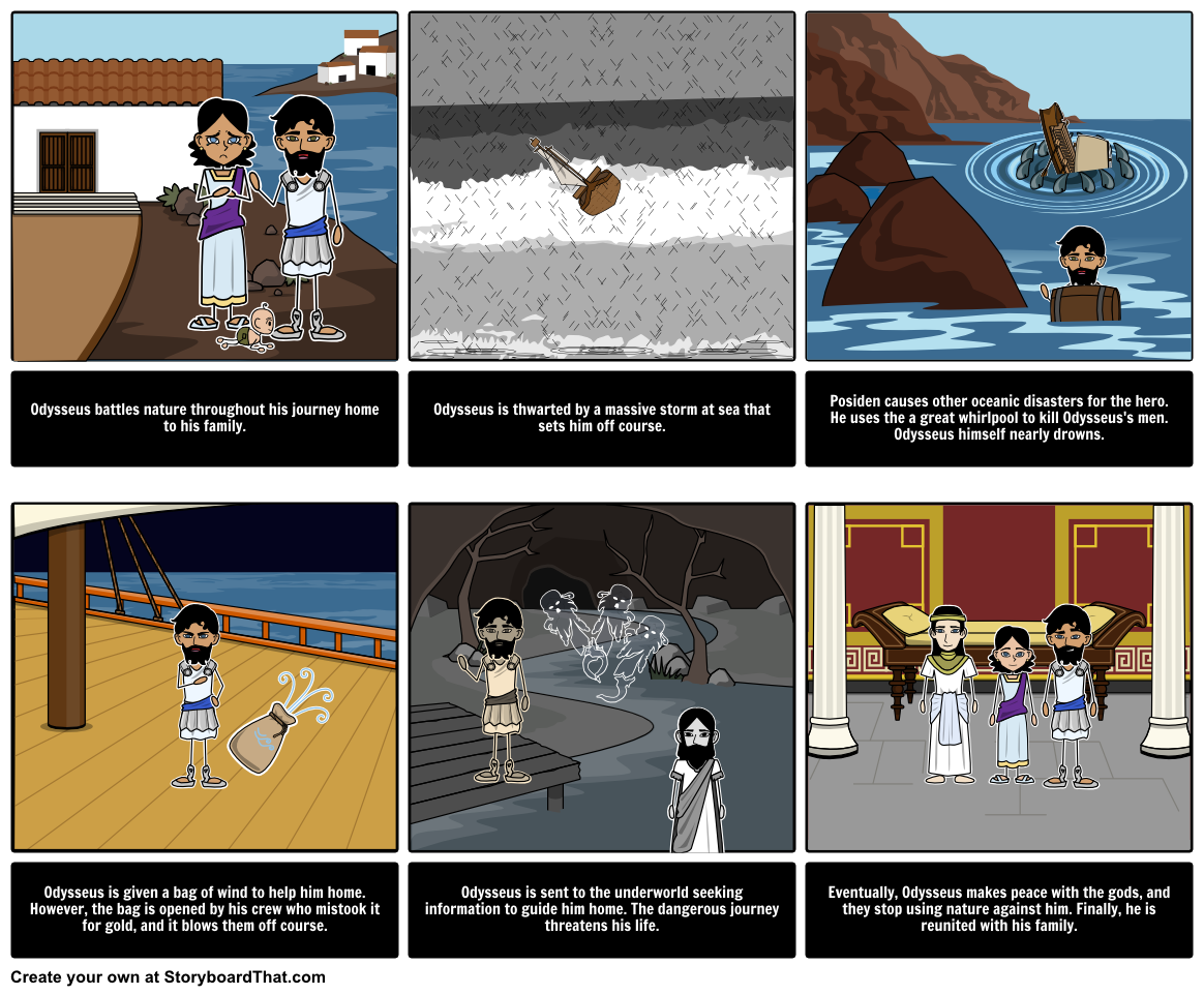Man Vs Nature Literary Conflict Storyboard For The