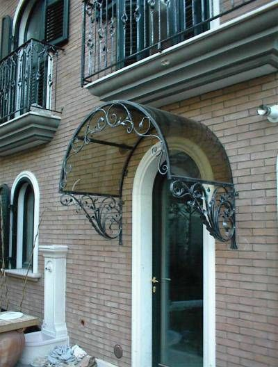 Wrought Iron Door Awning With Smoke Plexiglass Canopy