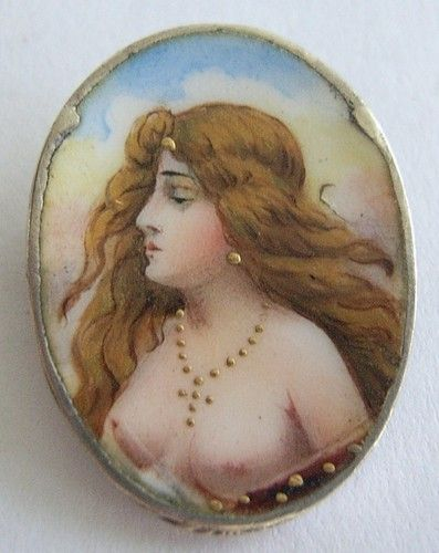 Art Nouveau Enameled on Silver Bust of Flowing Hair Lady Pin