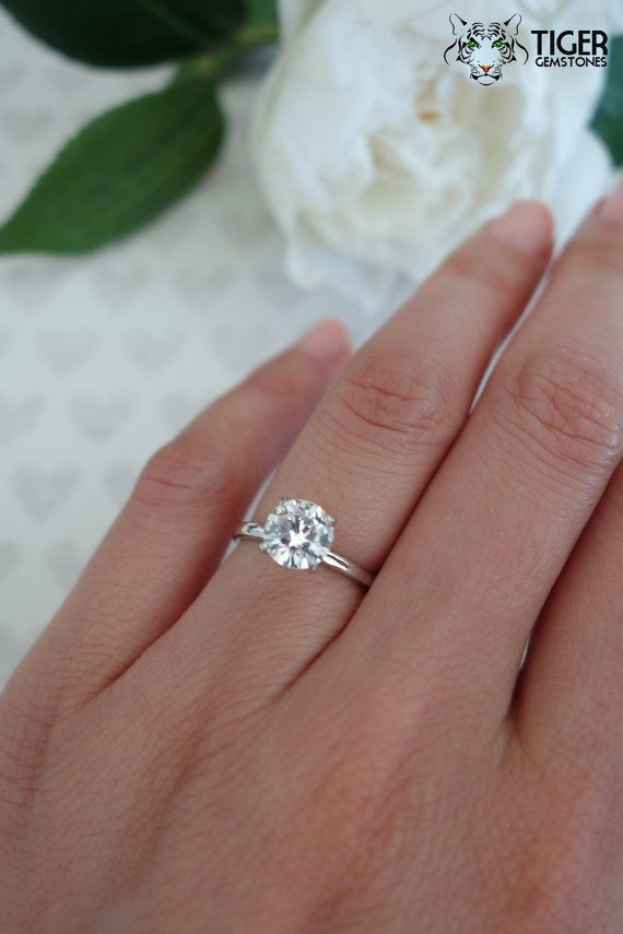Size 5-6: 1.5 Carat, 14k White Gold, 4 Prong Solitaire Round Cut ...