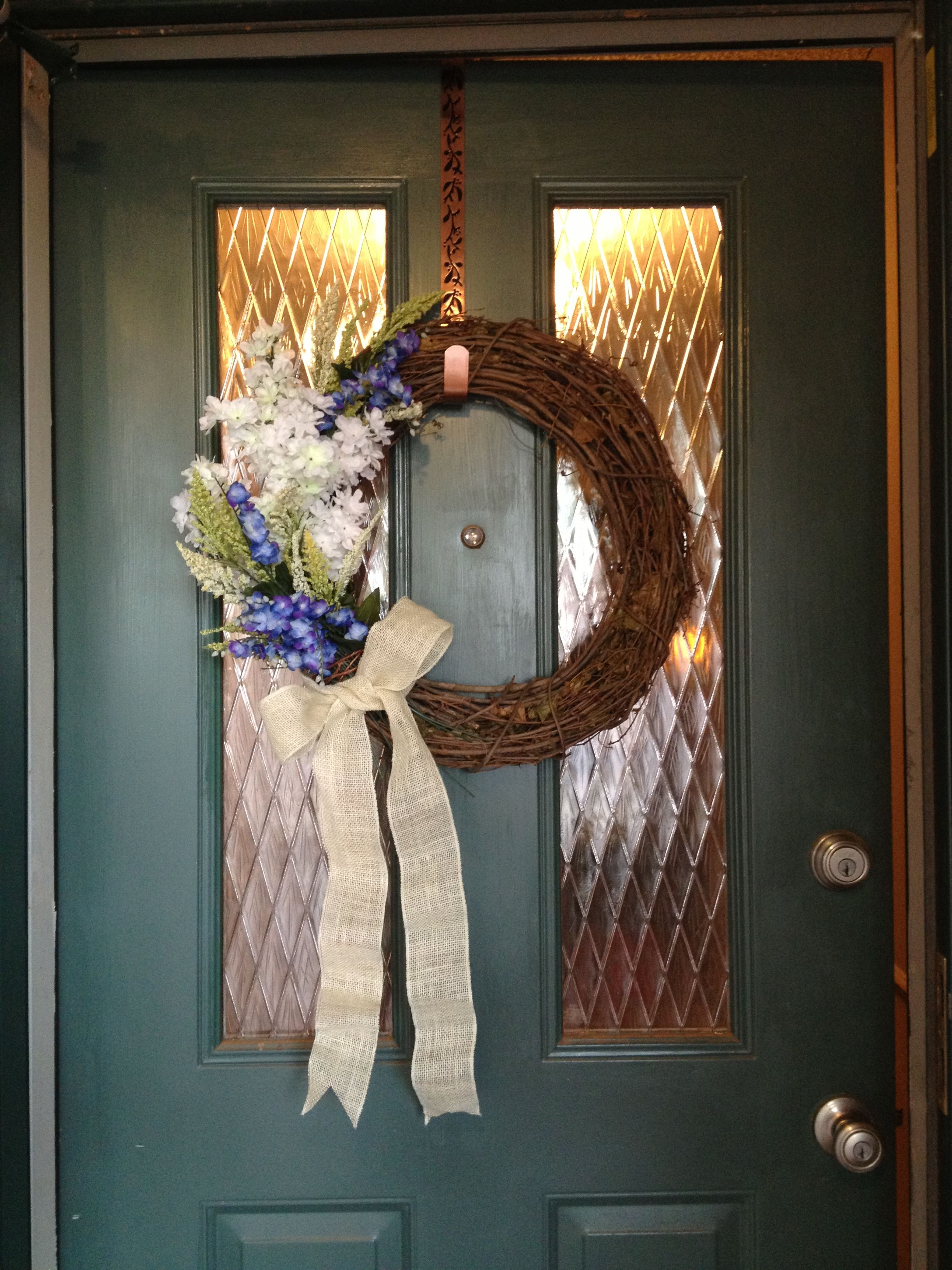 Spring Wreath I Made Using A Grapevine Wreath And Silk Bluebonnets