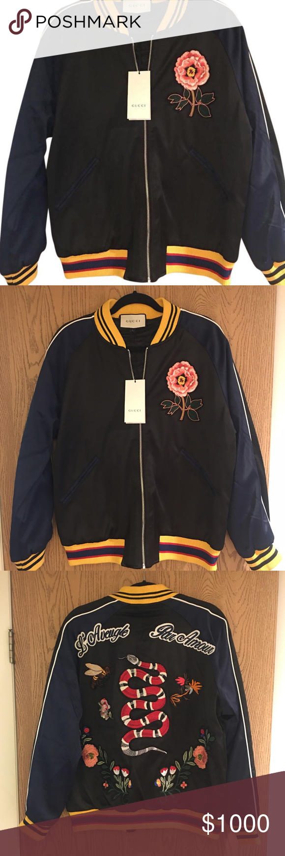 524b1fd9d Gucci Flower & Snake Appliqué Satin Bomber Jacket New with tags Gucci  AW16 Satin Bomber