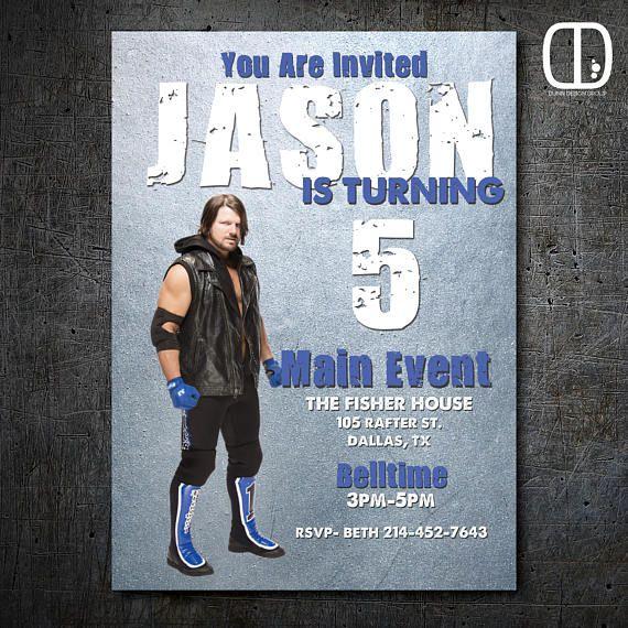 Aj Styles Custom Birthday Invitation Boy Girl Wrestling Party