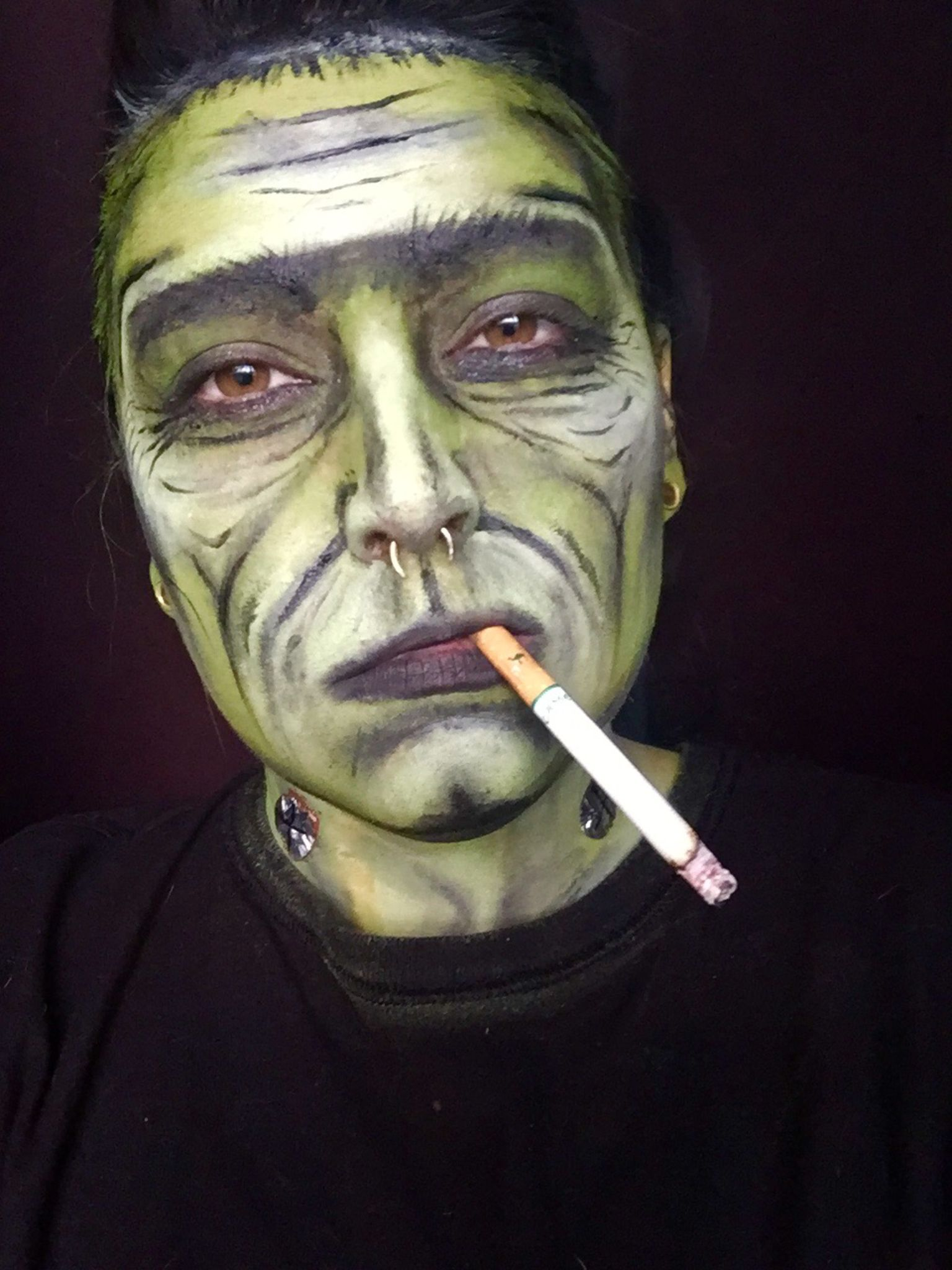 Frankenstein makeup Halloween face paint dude guy man (but ...