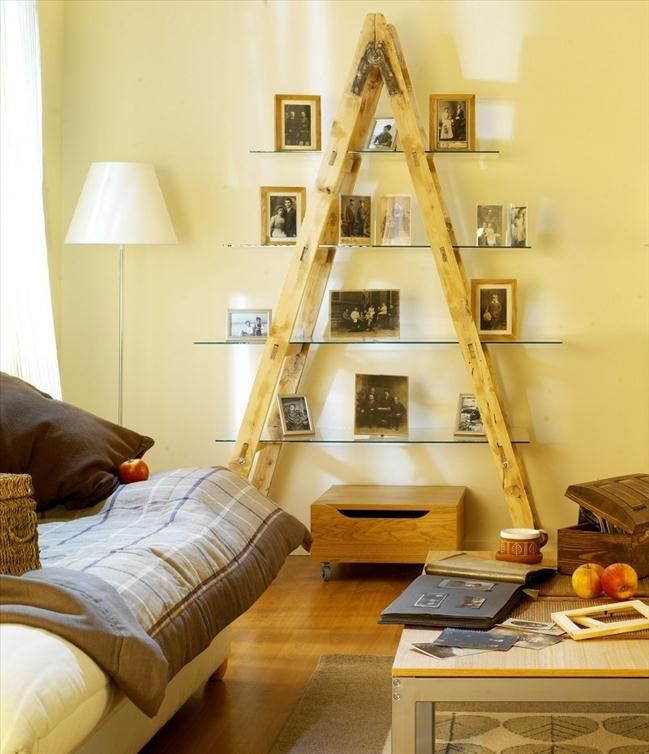 DIY Living Room Ladder Shelf Ideas are an easy ways to reuse an