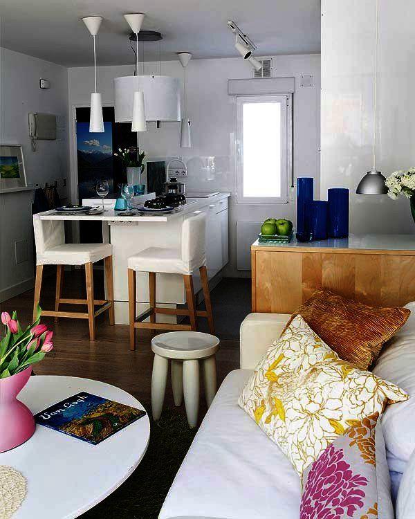 Cómo decorar casas pequeñas Open plan living, Open plan and House