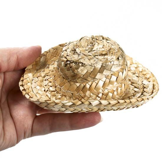 Mini Cowboy Straw Doll Hats - 12pcs 4865acd79ea0