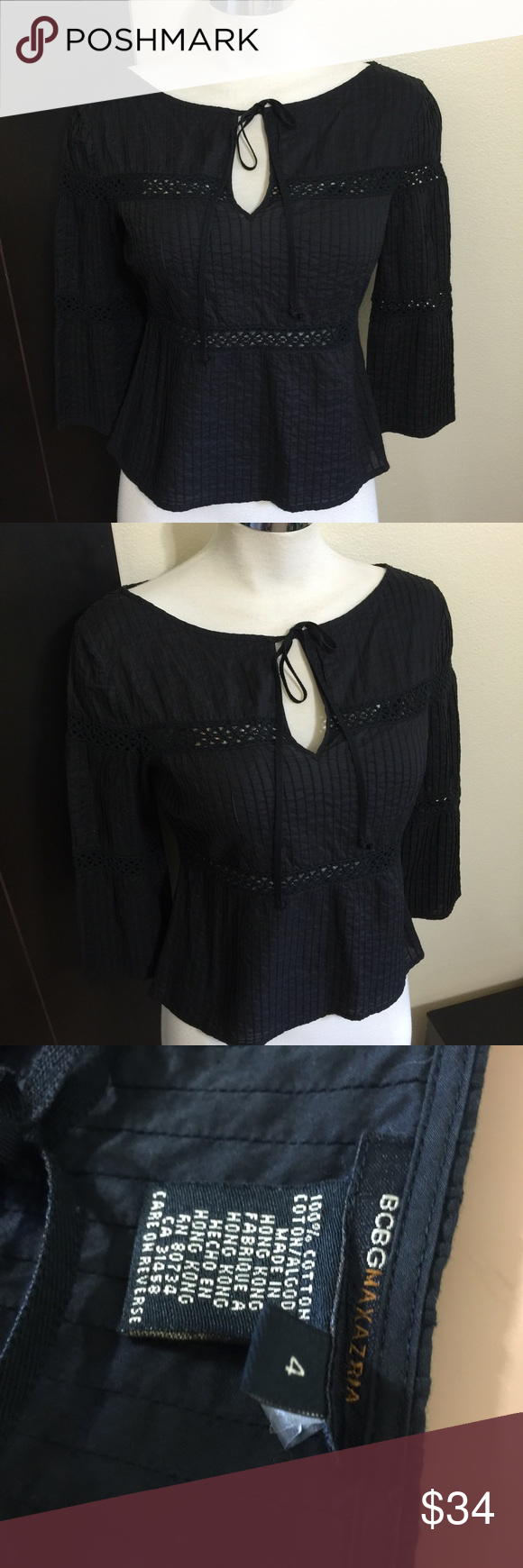 BCBG MAX AZRIA Black Cotton Peasant Blouse S 2 4 Label-BCBG MAX AZRIA  Style- Black Micropleated Cotton BoHo Peasant Blouse Top, Boatneck tie neck, 3/4 slight bell sleeves,  Size-4 Shown on a 2 Will fit XS S 0 2 4 Measurements-B-35 W-30 H-35 -Length from underarm seam to hem-13  Color-Inky Black, lightened to show detail  Fabric-100% Medium weight cotton Condition-NWOT  Origin-China BCBGMaxAzria Tops Blouses